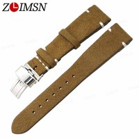 ZLIMSN 20mm Genuine Leather Watch Bands Replacement Grey Brown Black Yellow Watchband Silver Polished Stainless Steel