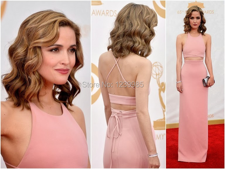 Emmy 2017 Rose Byrne Dress Special Design Sexy Scoop Two Pieces Straight Long Celebrity Dresses Pink Evening Dresses