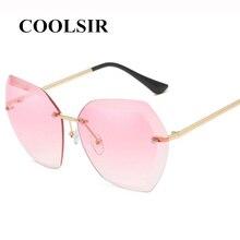 COOLSIR 2019 Rimless Gradient Sunglasses Women Luxury Brand Designer Oversized Sun Glasses Ladies Shades Clear Eyewear