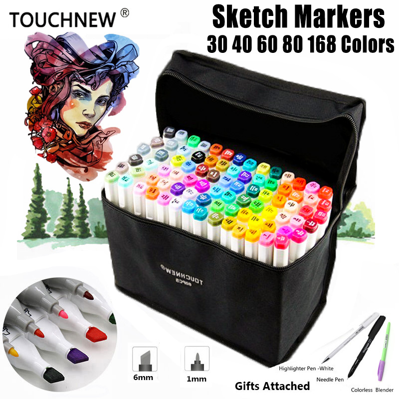 TOUCHNEW 168 Colors Artist Painting Manga Art Marker Pen Head Alcohol Art Sketch Graffiti Fineliner Markers Set Markers Designer 80 colors painting art marker pen alcohol marker pen cartoon graffiti dual headed sketch markers set art supplies black white