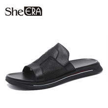 2019 Brand Slippers Men Summer Geunine Leather Sandals Casual Beach Flip Flops Non-slip outdoor House Home Slippers Big Size 44 yatntnpy brand men sandals genuine leather beach shoes man summer casual slipper plus big size fashion non slip flip flops