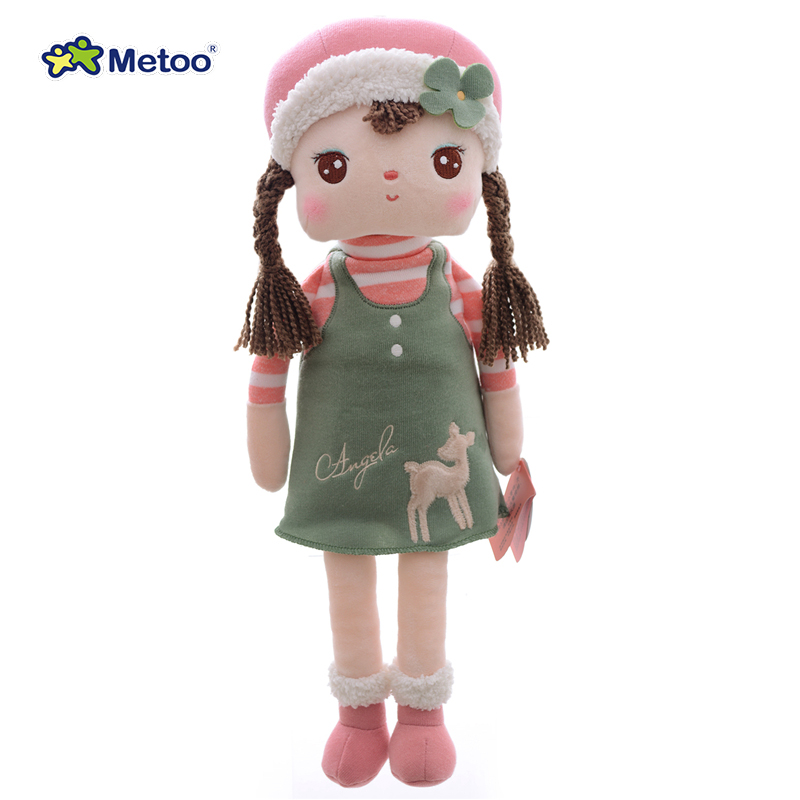 Official METOO Plush Toys Stuffed Angela Doll Wearing Cartoon Giraffe Skirt Girl Metoo Doll Great Gifts for Kids Birthday 16