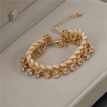 fashion diamante weaved rope chain 3 layers couple gold alloy women girl bracelet