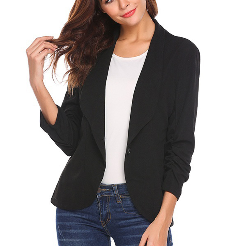 Women Blazer Three Quarter Sleeve One Button Ladies Blazers Casual Temperament V-neck Suit Jacket Female Large Size Blazer Femme Women's Clothing Suits & Sets