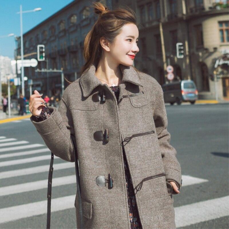 Vêtements down Hiver Vêtements Col Plus Femmes Pure Lâche Laine Turn Manteau Taille Yzh301 La Mode Couleur Nouvelles 2018 Brown De Automne Femelle PO5wBYq