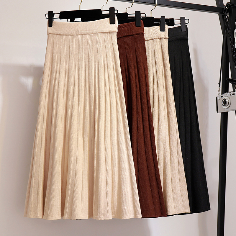 Plus Size S XXL Knitted Woman Skirts Winter Long Pleated Skirts Solid Maxi Skirt Black High Elastic Waist Saia Longa Femme Warm