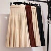 Plus tamanho s xxl mulher de malha saias inverno longo plissado saias sólido maxi saia preto cintura alta elástica saia longa femme quente