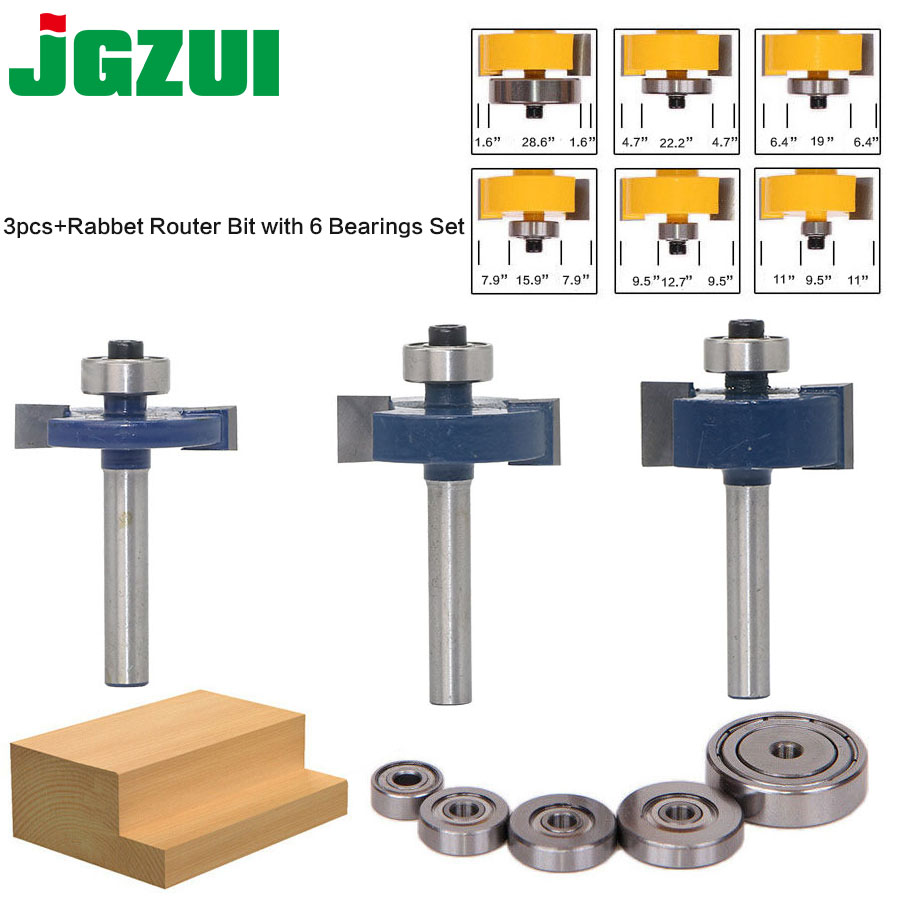 3pcs Rabbet Router Bit with 6 Bearings Set -1/2H - 1/4 Shank Woodworking cutter Tenon Cutter for Woodworking Tools 2 bit jewelry box side and foot mold router bit set 1 2 shank woodworking cutter tenon cutter for woodworking tools