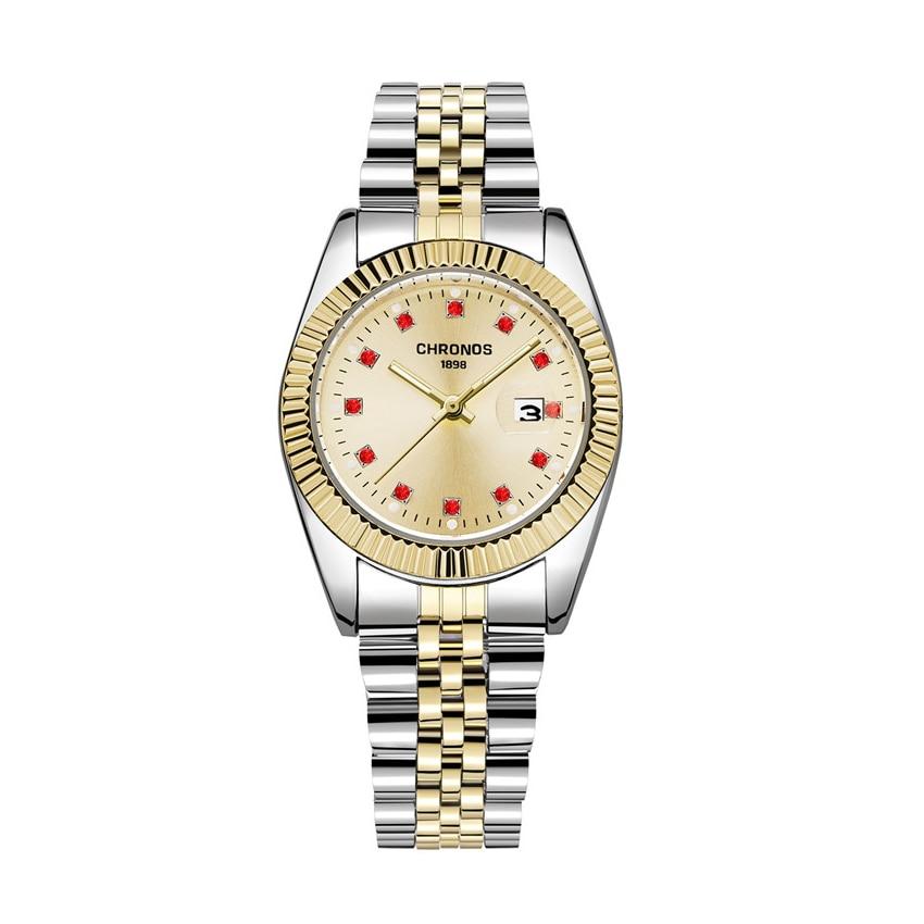 Купить chronos женские роскошные золотые часы браслет офисные с бриллиантами