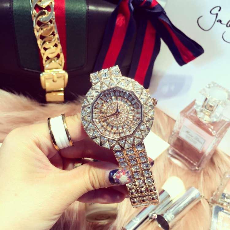 Women Luxury Steel Full Rhinestone Wristwatch Lady Crystal Dress Watches