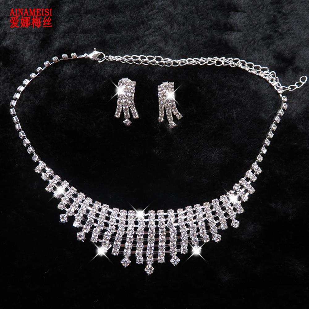 Fashion Wedding Bridal Prom Diamante Jewelry Set Crystal Necklace   Earrings