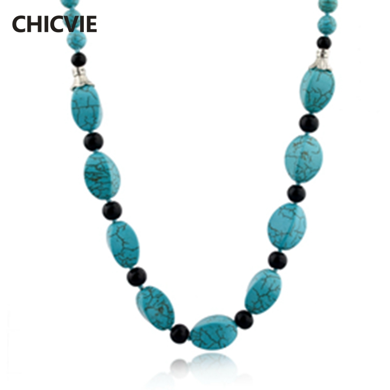 CHICVIE Vintage Accessories Natural Stone Beads Necklaces For Women Statement Silver Color Ethnic Jewelry Necklaces SNE140440