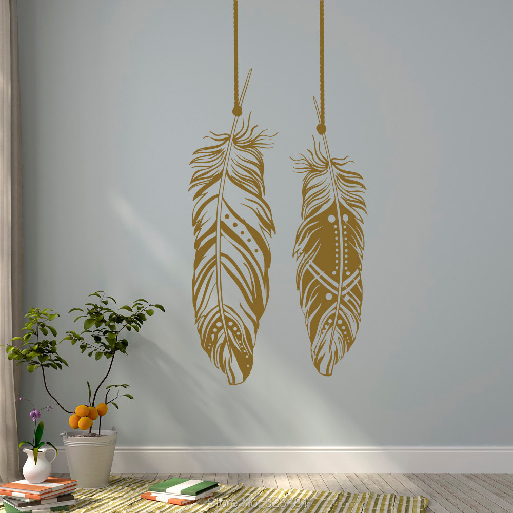 feathers tribal boho bohemian wall art stickers decals home diy decoration wall mural removable bedroom decor wall stickers bedroom furniture sticker style