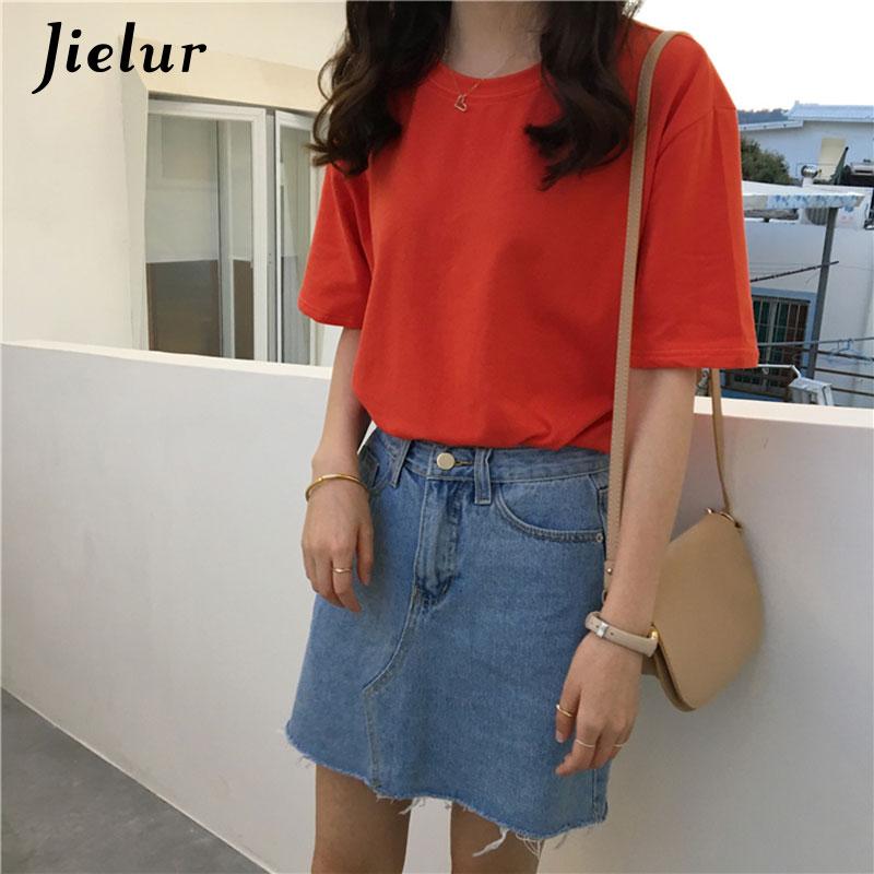 Jielur Tee Shirt 15 jednolity kolor podstawowe T koszula kobiety na co dzień O-neck Harajuku lato Top koreański Hipster biały t-shirt S-XL Dropship 6