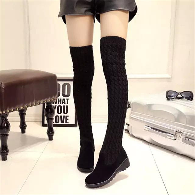 IAHEAD Brand Shoes Fashion Knitted Women Knee High Boots Elastic Slim  Winter Warm Long Thigh High Boots Woman Shoes UPC343