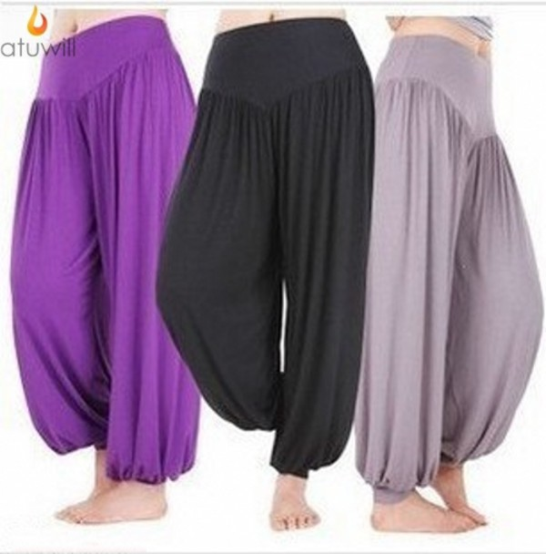 Atuwill Summer Candy Color Pleated Capris Tai Chi Bloomers kung fu Pants big size Fitness Trousers For Women Men