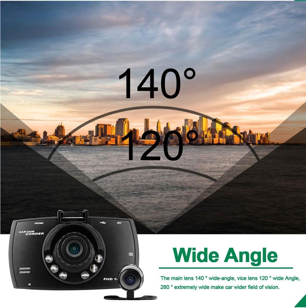 QUIDUX Dual lens G30 Car DVR Camera HD 1080P Video Recorder DVRs Night Vision Auto Dash cam Veicular Kamera two cameras Logger 7