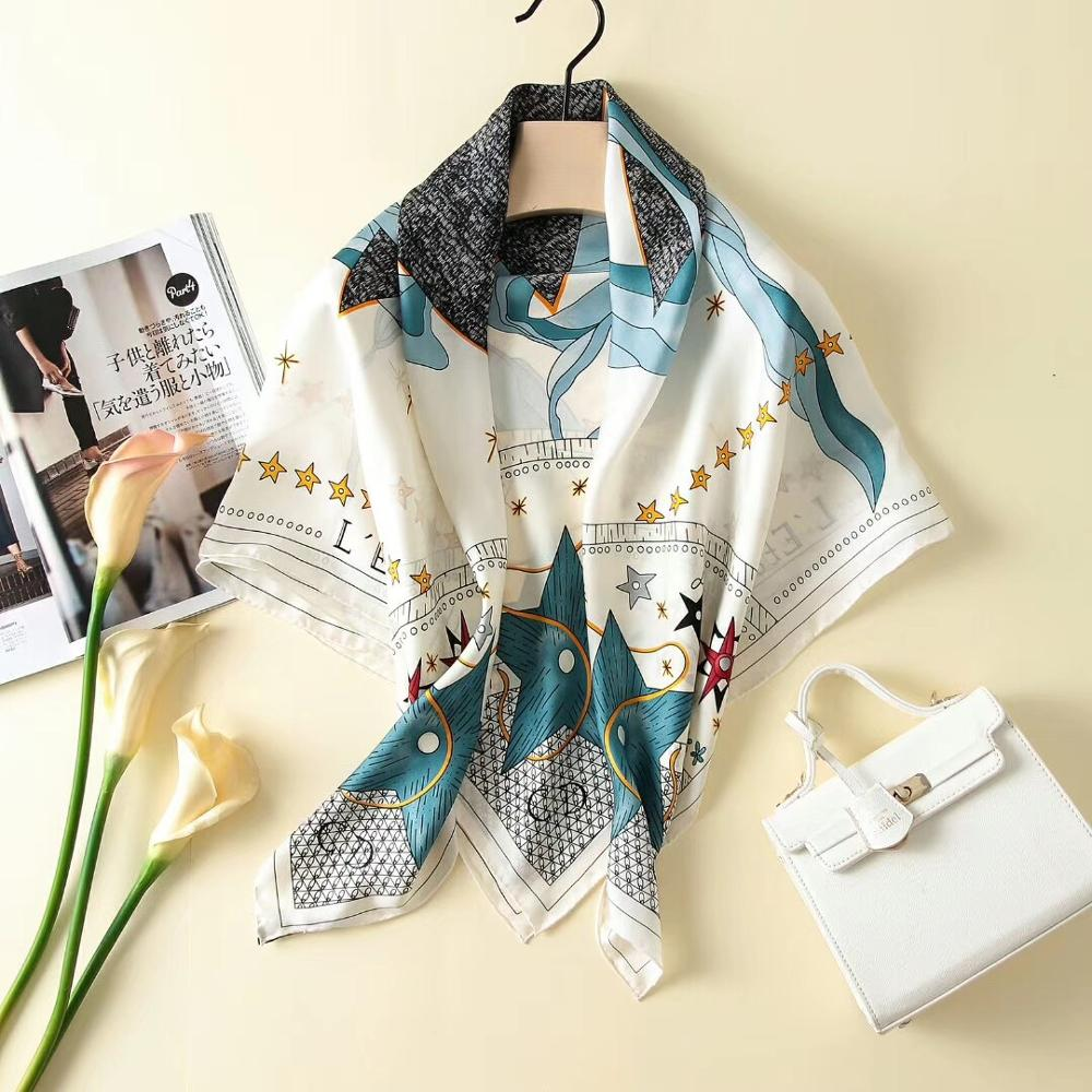 2019 New Arrival Spring Autumn Classic  Flower 100% Pure Silk Scarf Twill Hand Made Roll 90*90 Cm Shawl Wrap For Women Lady