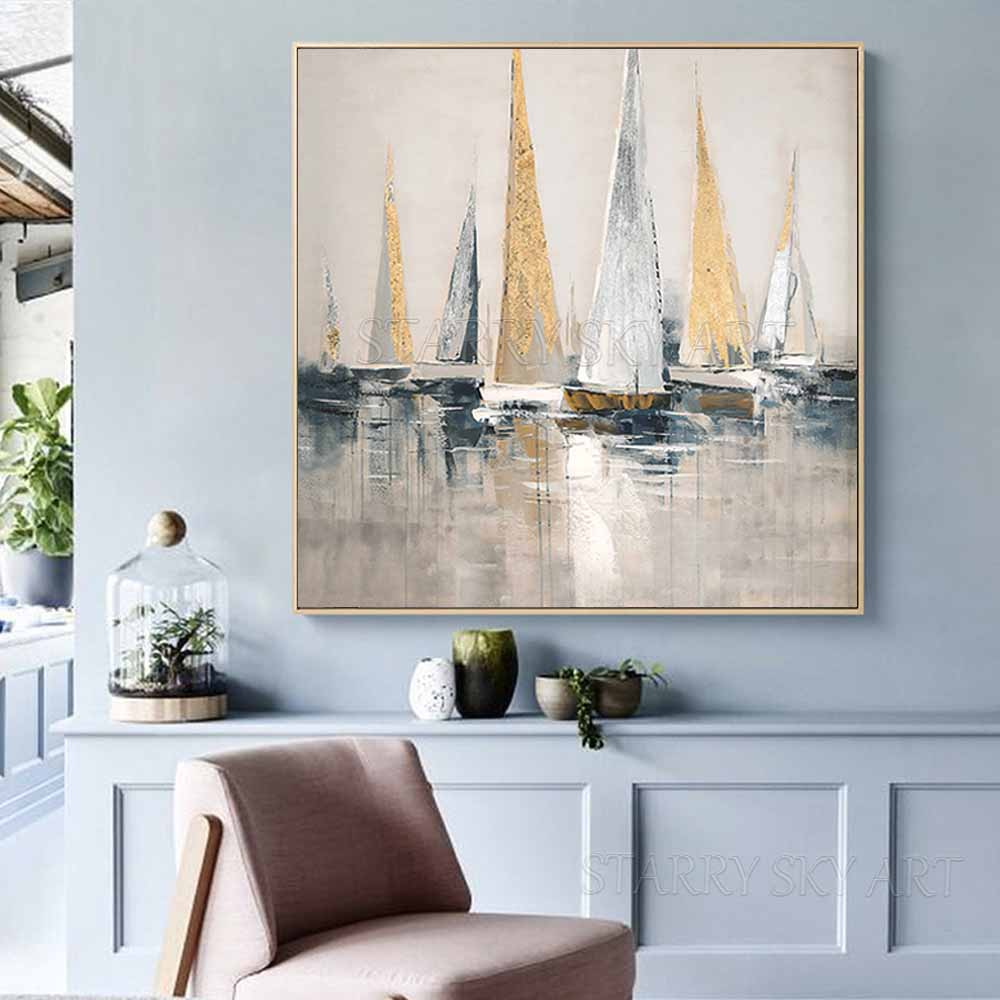 Image 4 - Skilled Artist Hand painted High Quality Golden Foil Abstract  Boats Oil Painting Wall Fine Art Abstract Landscape Boats  PaintingPainting