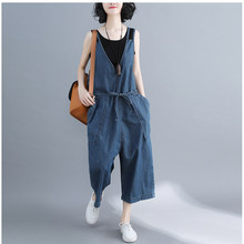 casual Denim Jumpsuit summer Ladies Long Pants rompers women jumpsuit Overalls ripped jeans Strappy Off Shoulder jeans PP-309(China)