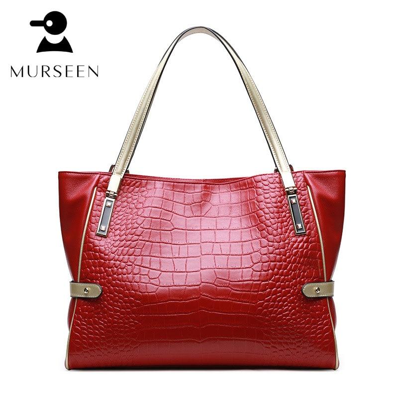 цены на Women Genuine Leather Alligator Handbags 2017 New Designer Totes Bag Large Capacity Female Shoulder Bags High Quality top-handle в интернет-магазинах