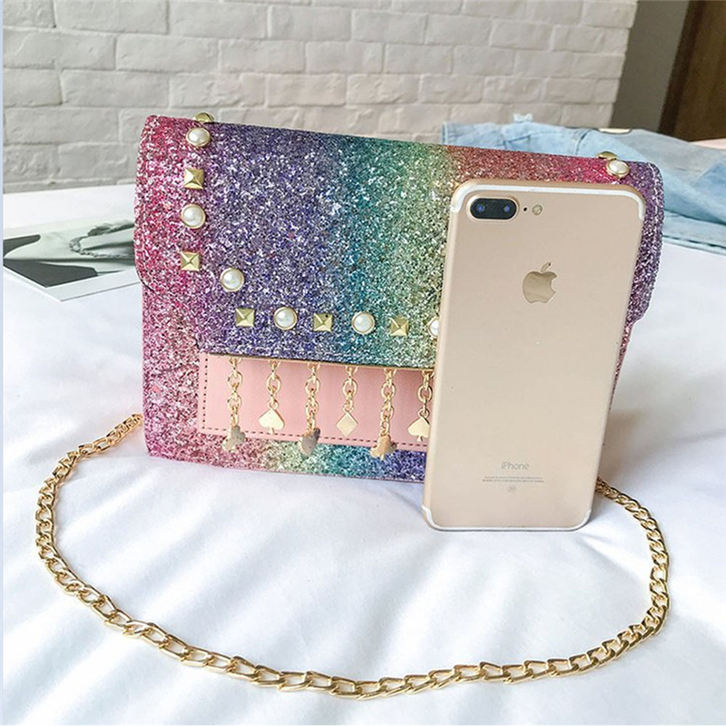 Womens Ladies Sequined Flax Leather Envelope Clutch Evening Shoulder Chain Bag Colorful Messenger Bags
