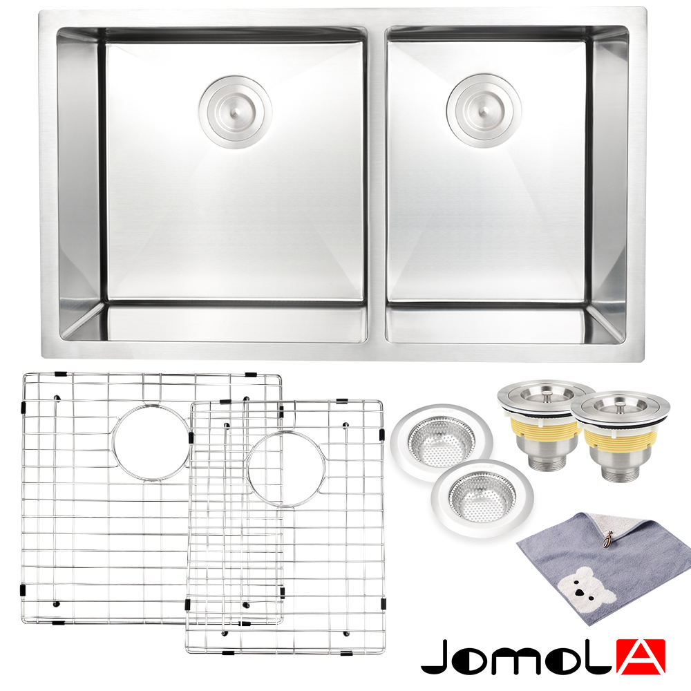 цена на JOMOLA Kitchen Sink Stainless Steel Double Bowl 16 Gauge Undermount 33 Inch vegetable washing basin groove