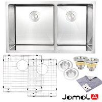 JOMOLA Kitchen Sink Stainless Steel Double Bowl 16 Gauge Undermount 33 Inch vegetable washing basin groove