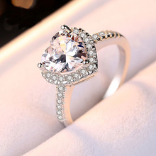 8mm CZ Stone Romantic Heart Ring Engagement Solid 925 Sterling Silver Jewelry Surprise Gift Proposal Ring for Girlfriend цены онлайн
