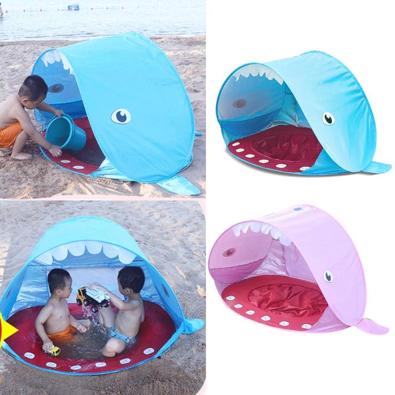Lovely Whale Shape Beach Tent Kids Summer UV Protection Rain-proof Shelter Kids Baby Games Beach Tent Outdoor Swimming Pool Play