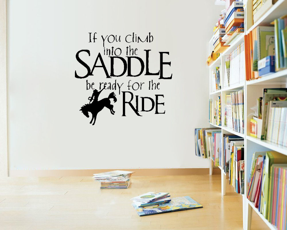 Saddle Up Horse Rider Western Wall Decals Vinyl Stickers Home Decor Living Room Decoration Bedroom Wallpaper