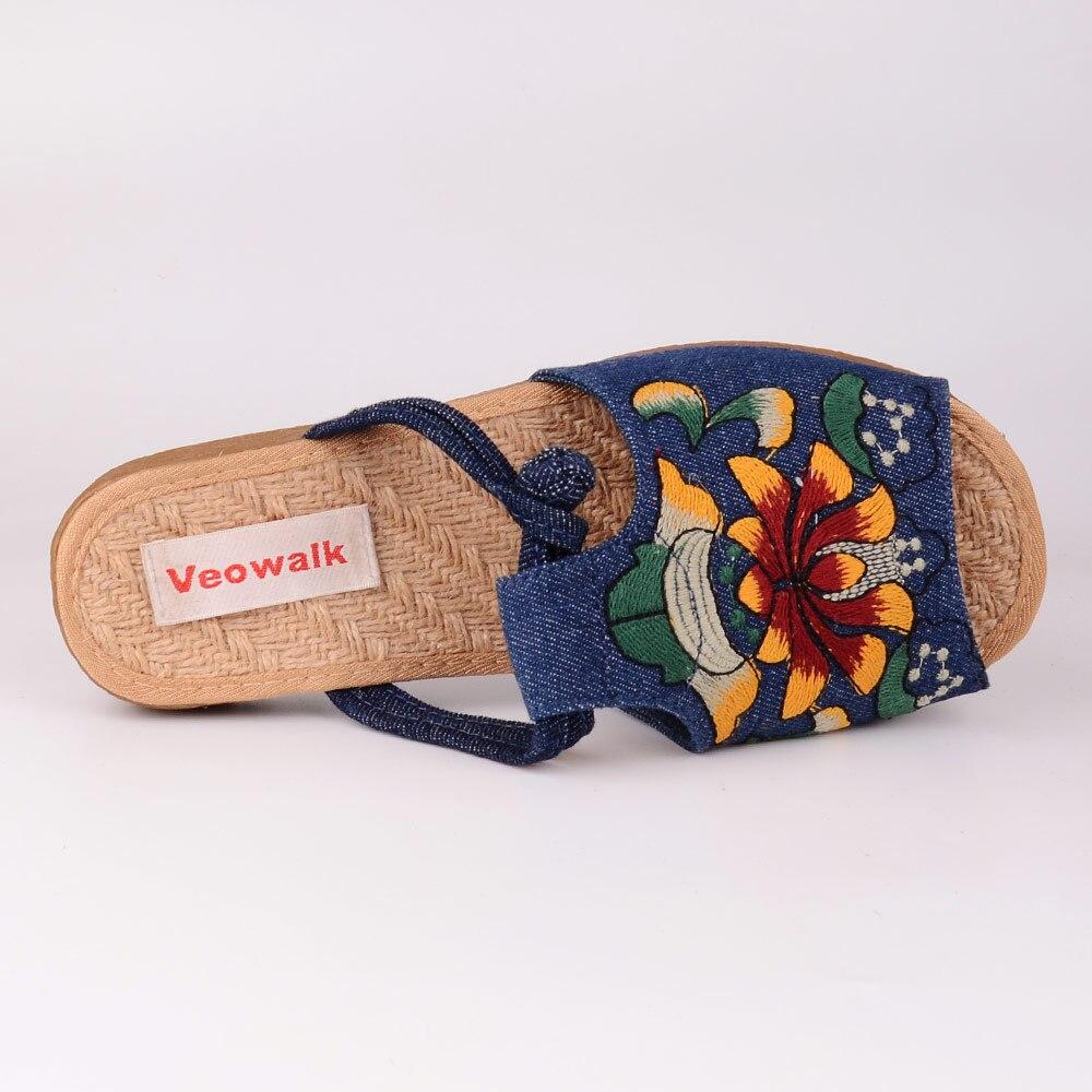 Image 4 - Veowalk الأزياء امرأة نعال مسطحة صندل كاجوال الصينية زهرة التطريز مريحة أحذية ناعمة للنساء zapatos موهيرشباشبأحذية -