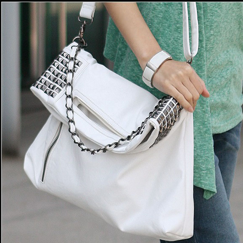 Hot Sale New Fashion PU Leather Women Handbag Shoulder Bags Messenger Ladies Crossbody Rivet Bolsas Femininas Black/White hot sale tassel women bag leather handbags cross body shoulder bags fashion messenger bag women handbag bolsas femininas