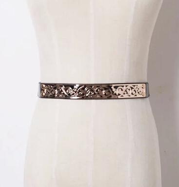 Diseño de lujo de cuero de Las Mujeres de letras de metal Decorar Cinturón ancho de La Vendimia de la Aleación de Oro Hebilla de la Señora grande logo cintura Elegante