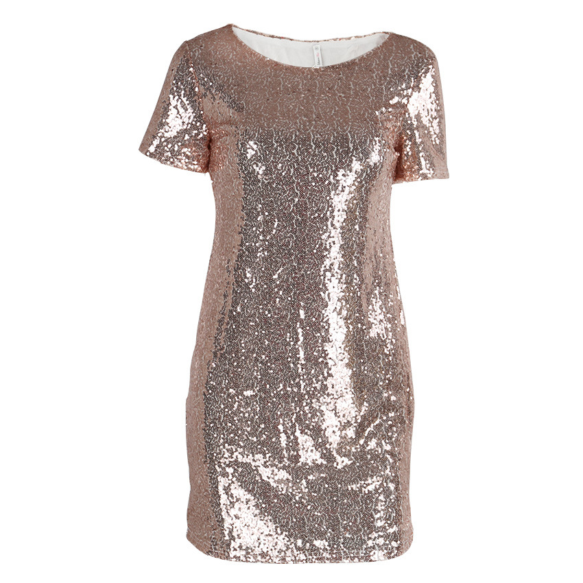 HTB1djNOccnI8KJjSspeq6AwIpXaA - Sequins Gold Dress Summer Women Sexy Short T Shirt Dress Evening Party Elegant Club Dresses