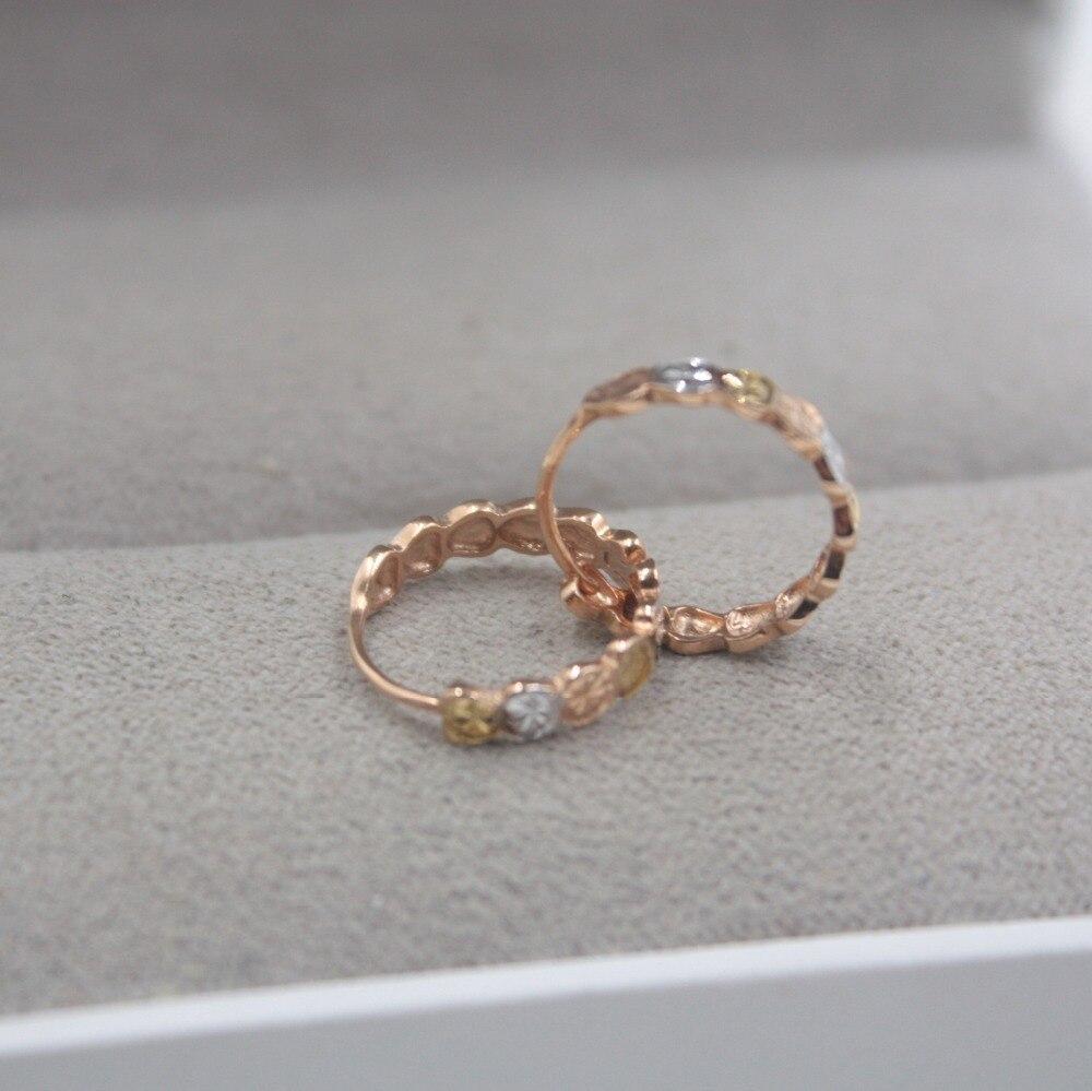 Pur 18 K multi-tons or mode petites boucles d'oreilles personnalisé demoiselles d'honneur cadeau mignon boucles d'oreilles cerceau 1.6-1.8g bijoux de tous les jours - 4