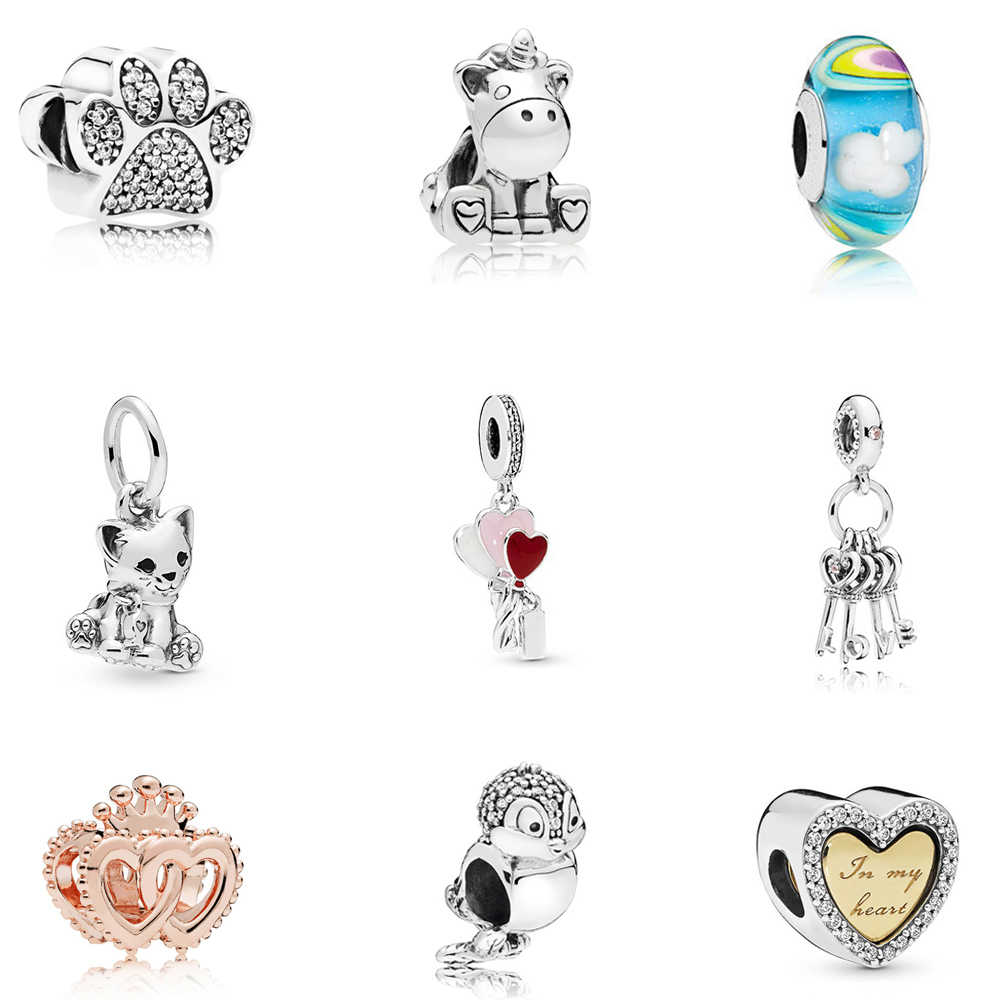 2019 New Original Silver Plated Charm Fit Pandora Bracelets Diy Lovely Bird Mom Heart Dangle Charms Beads Women Jeweley