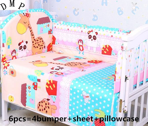 Promotion! 6PCS Cartoon Cot Crib Bedding Set 100% Cotton crib bumper ,Baby Bedding Set,include(bumper+sheet+pillow cover) promotion 6pcs cartoon baby crib bedding set 100% cotton baby bedding set bumper sheet pillow cover