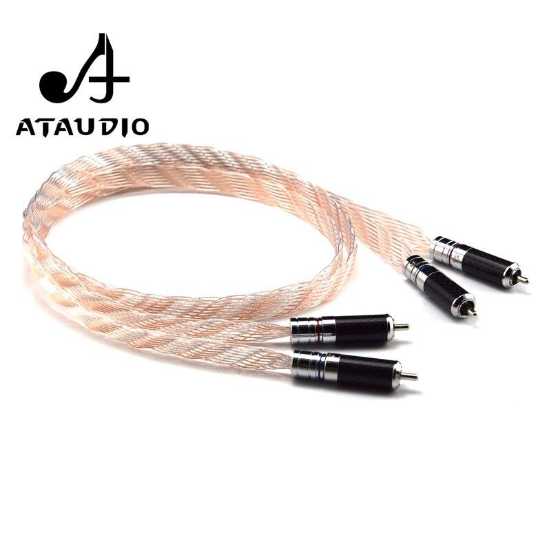 ATAUDIO одна пара Hifi RCA кабель Высокая производительность Серебро и медь 2RCA штекер к кабелю
