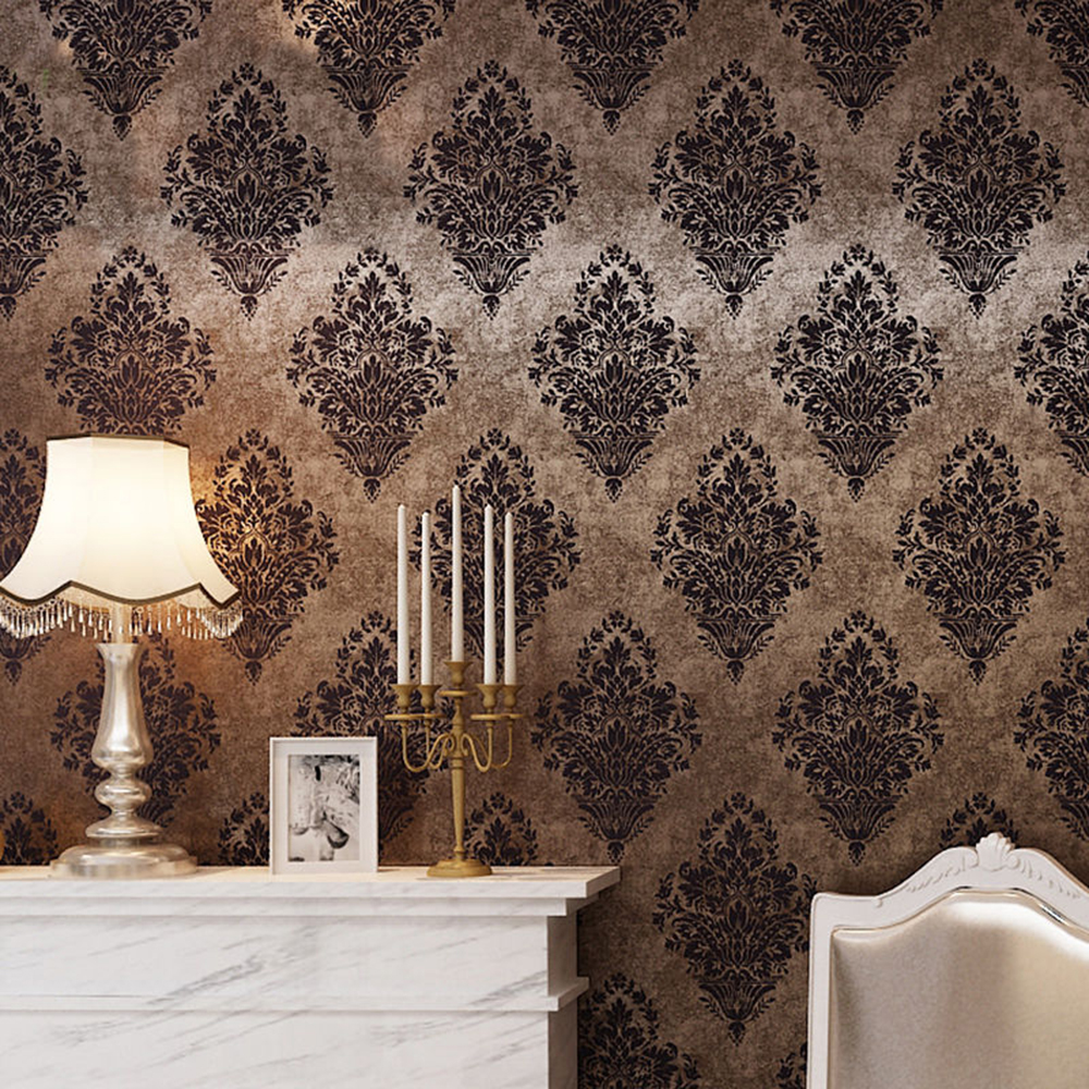 Buy haokhome vintage damask wallpaper for Black white damask wallpaper mural
