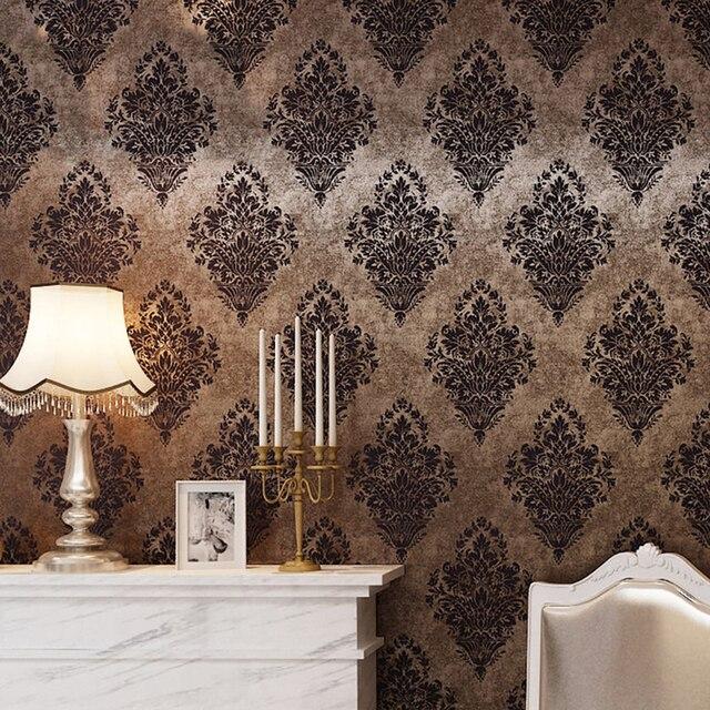 Wandbilder wohnzimmer braun  Haokhome Vintage Damast Tapetenrollen Bronze/braun Französisch ...