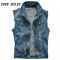 Men Denim Vest Big Large Size M-5XL Fashion Blue Jeans Sleeveless Cowboy Ripped Vest Vintage Style Frayed Waistcoat Tank Tops