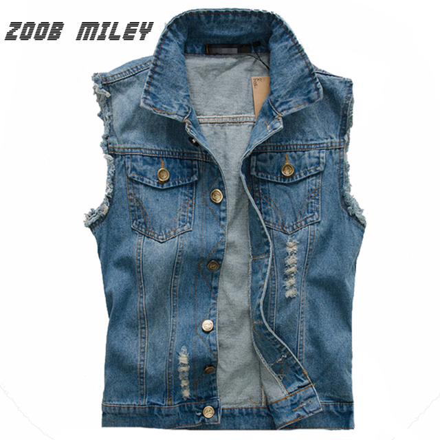 058b230648ae Men Denim Vest Big Large Size M-5XL Fashion Blue Jeans Sleeveless Cowboy  Ripped Vest Vintage Style Frayed Waistcoat Tank Tops