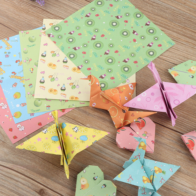 72pcs New Colorful Mixed Fruit Pattern Origami Paper Folded Papers