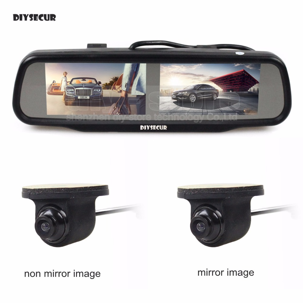 DIYSECUR Dual Screen 4.3 inch TFT LCD Rear View Car Mirror Monitor + HD Car Rear View Camera for Rear/ Front / Side View