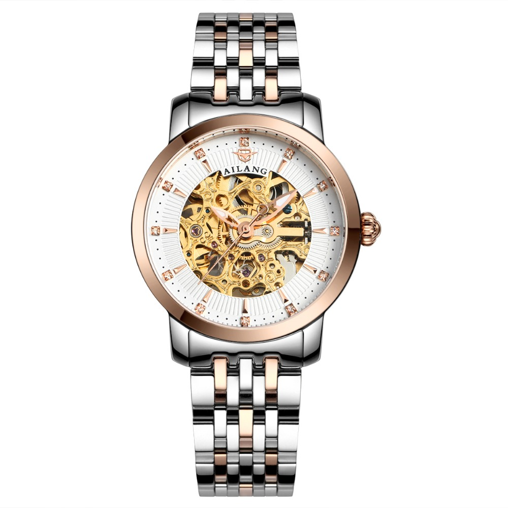 New Ladies Hollow Automatic Mechanical Watches Fashion Casual Womens Watch Diamond Stainless Steel Wristwatches Relogio Feminino lucky 2018 clover new fashion genuine leather womens watch ol lady diamond automatic mechanical watches women reloj femenino