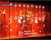Santa Stocking Snowflake Window Sticker New Year Christmas Decoration for Home Restaurant Glass Wall Stickers Free Shipping