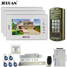 JERUAN Metal panel waterproof password keypad HD Mini Camera +7 inch Video Door Phone Intercom System kit 3 Monitor + 1 Doorbell