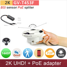 PoE#Ultra wide Angle H.265 2K 4mp ip camera with poe spliter adapter 1080P full HD Network cctv ONVIF cameras GANVIS GV-T453F ps