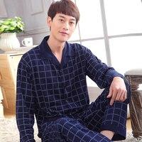 Men S Pajamas Spring Autumn Long Sleeve Sleepwear Cotton Plaid Cardigan Pyjamas Men Lounge Pajama Sets